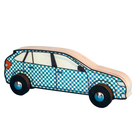 Veselé autíčko - modré kostkované