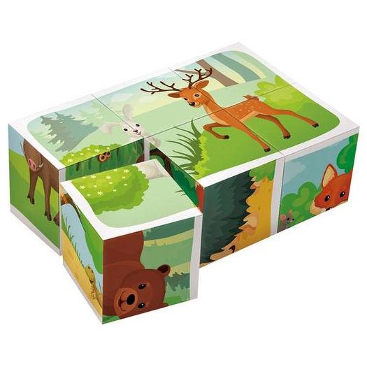 Skládací obrázkové kostky (Lesní Zvířátka 6 ks)